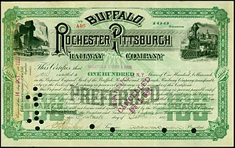 Buffalo, Rochester and Pittsburgh Railway - Share of the Buffalo, Rochester and Pittsburgh Railway Company, issued 15. October 1887