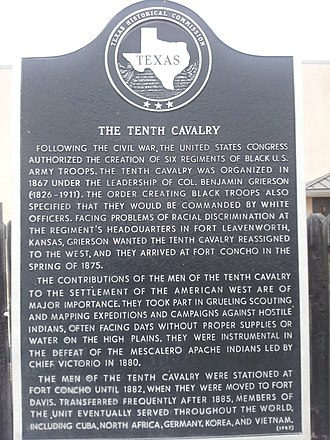 Fort Concho - Texas State Historical Association placard commemorating the 10th Cavalry