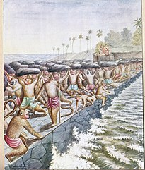 The ape-army building the bridge. Illustration by Balasaheb Pandit Pant Pratinidhi from a 1916 edition of the Ramayana epic