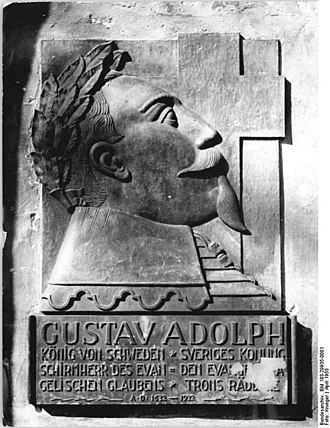 Capitulation of Franzburg - Gustavus Adolphus, memorial plaque at the Greifswald cathedral (Swedish Pomerania until 1815)