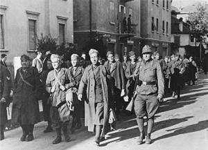 Operation Achse - Disarmed Italian soldiers marching to captivity in Bolzano.