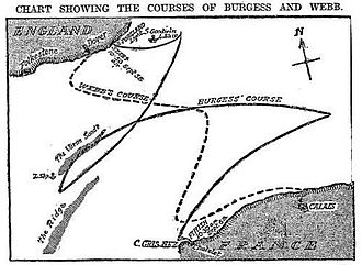 Swimming (sport) - The routes taken by Webb and T.W. Burgess across the English Channel, in 1875 and 1911, respectively.