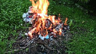 Incineration - A typical small burn pile in a garden.