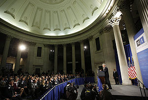Manhattan Institute for Policy Research - President Bush addresses a meeting of the Manhattan Institute at Federal Hall National Memorial on November 13, 2008.