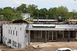 May 2009 Southern Midwest derecho - Damage to a business in downtown Doniphan, Missouri on May 8, 2009