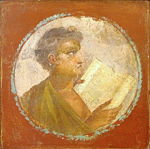 Education in ancient Rome - Roman portraiture fresco of a young man with a papyrus scroll, from Herculaneum, 1st century AD