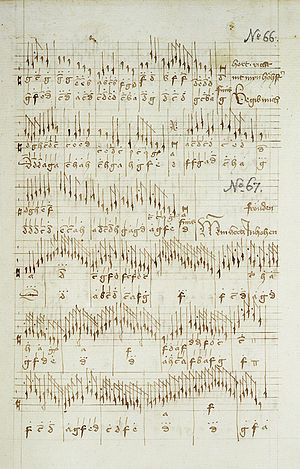 Buxheim Organ Book - A page from the Buxheim Organ Book as preserved in Bavarian State Library, Munich