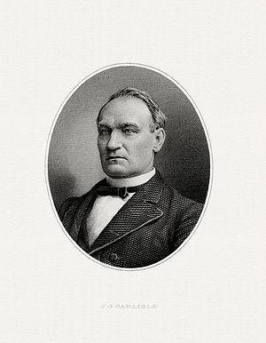 John G. Carlisle - Bureau of Engraving and Printing portrait of Carlisle as Secretary of the Treasury.