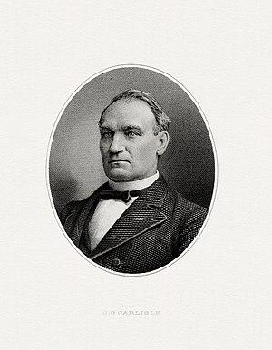 John G. Carlisle - Bureau of Engraving and Printing portrait of Carlisle as Secretary of the Treasury.