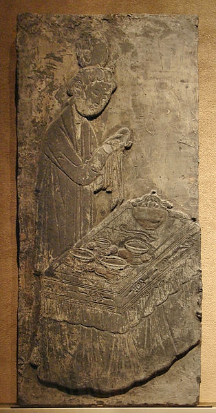 File:CMOC Treasures of Ancient China exhibit - pictorial brick depicting a woman cleaning and drying vessels.jpg