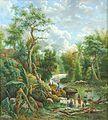 COLLECTIE TROPENMUSEUM Olieverfschilderij voorstellende de rivier Bangak en het Kawigebergte te Malang TMnr H-3289.jpg