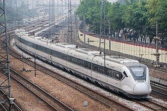 Guangzhou–Shenzhen railway - CRH6A at Guangzhou-Shenzhen Railway in Guangzhou in March 2018