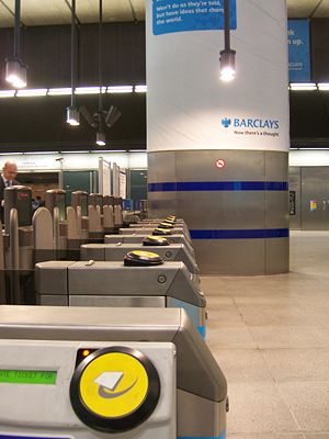 Oyster card - Oyster card readers on London Underground ticket barriers at Canary Wharf.