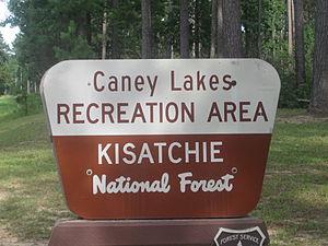 Caney Lakes Recreation Area - Kisatchie National Forest sign at Caney Lakes Recreation Area near Minden, Louisiana