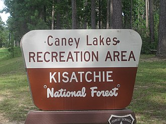 Caney Lakes Recreation Area - Kisatchie National Forest sign at Caney Lakes Recreation Area near Minden, Louisiana