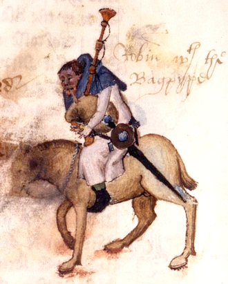 The Miller's Tale - Illustration of Robin the Miller, from The Miller's Tale, playing a bagpipe