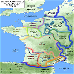 Crown lands of France - The Kingdom of France at the time of Hugh Capet. French royal domain in blue.