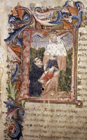 John Capgrave - Historiated initial from John Capgrave's Commentary on Exodus (c 1440) showing Capgrave presenting his book to Humphrey, Duke of Gloucester. One of three remaining volumes of Gloucester's original bequest to the Bodleian Library in Oxford University