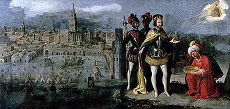 Capture of Seville by Ferdinand III of Castile (painted by Francisco Pacheco) Capture de Seville par Ferdinand III.jpg
