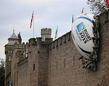 Cardiff Castle rugby ball 2015 RWC.jpg