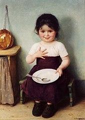 Bambina sazia dopo un pasto