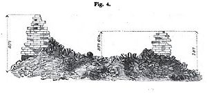 Carnot wall - Illustration of the replica Carnot Wall constructed at Woolwich in 1823 - showing the effect of bombardment.