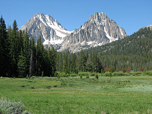A photo of Castle and Merriam peaks from the west