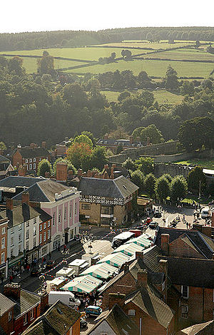 Ludlow - The town's outdoor market, in Castle Square, photographed from St Laurence's Church.