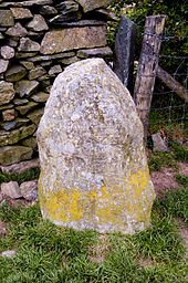 Outlying stone at Castlerigg stone circle showing possible damage caused by ploughing.