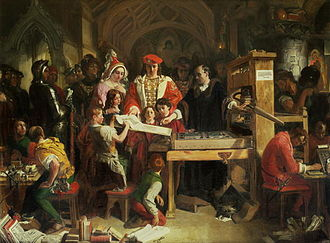 William Caxton - Caxton showing the first specimen of his printing to King Edward IV and Queen Elizabeth at the Almonry, Westminster (painting by Daniel Maclise)