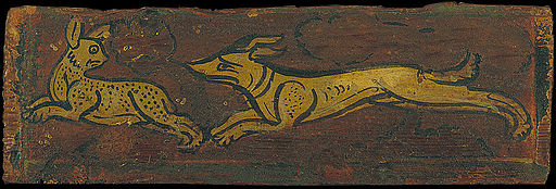 Ceiling panel with a dog pursuing a hare - Google Art Project