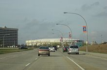 Charles Lindberg Boulevard towards the Nassau Veterans Memorial Coliseum, Uniondale, New York - 20070427.jpg