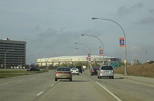 Uniondale, New York - Westbound on Charles Lindberg Boulevard towards Nassau Veterans Memorial Coliseum