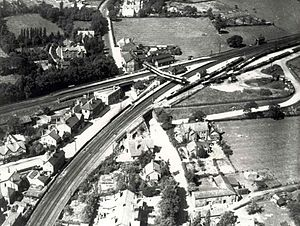 Cheadle Hulme railway station - An aerial view of the station, dating from 1927