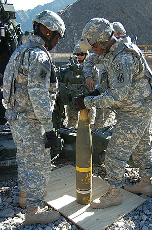 M982 Excalibur - US Army artillerymen preparing a M982 Excalibur round for firing in Afghanistan, 2008.