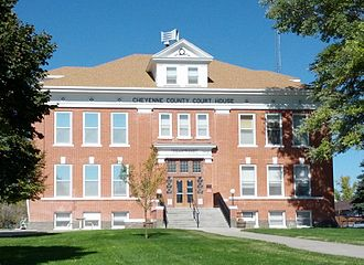 Cheyenne County, Colorado - Image: Cheyenne County Colorado Courthouse Center Front 1