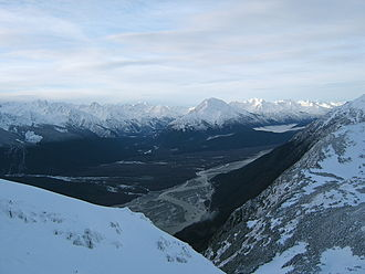 Chilkat River - A view up the Chilkat River valley from the Takshanuk Mountains