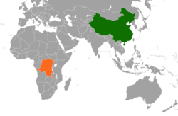 Map indicating locations of China and Democratic Republic of the Congo