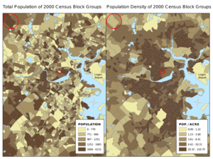Choropleth map - Incorrect (population, left) and correct (population density, right) application of a choropleth to data for Boston, Massachusetts