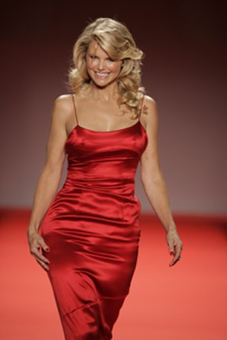 Christie Brinkley - Modeling a dress by Calvin Klein at the 2005 Red Dress Collection fashion show in New York's Bryant Park