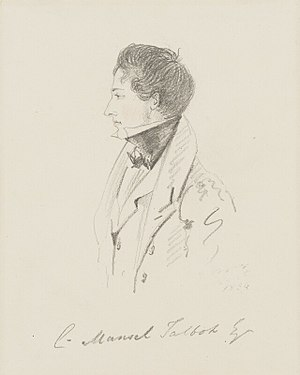 Christopher Rice Mansel Talbot - Christopher Rice Mansel Talbot by Alfred, Count D'Orsay in 1834