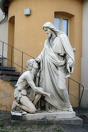 Healing the blind near Jericho - Jesus healing blind Bartimaeus, by Johann Heinrich Stöver, 1861.