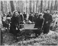 Civilians of Neunburg bear victims of SS killings to burial ground, after bodies were exhumed from mass grave where... - NARA - 531346.tif