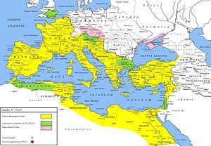 Carnuntum - Map of Roman legions in 50 AD: Legio XV Apollinaris at Carnuntum