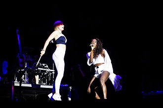 Clean Bandit - Grace Chatto of Clean Bandit with Elisabeth Troy at FIB 2015.
