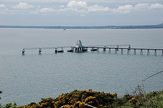 Belfast Lough - The jetty at Cloghan Point is used to off-load oil from tankers, for use at the nearby Kilroot power station.