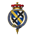 Coat of arms of Sir Thomas Scrope, 10th Baron Scrope of Bolton, KG.png