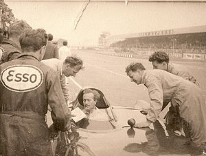 Colin Chapman - In the early years, Chapman often acted as test driver for his own designs. Here, he shakes down the works Lotus Eleven car prior to a support race for the 1956 British Grand Prix