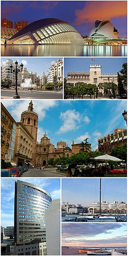 Clockwise from top, Valencia skyline, Veles e Vents building, City of Arts and Science, Turia Riverbed Gardens, Virgin Square (Turia Fountain and Cathedral), modernist buildings in Town Hall Square.