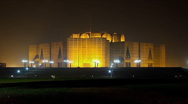 The National Parliament House in Dhaka was designed by American architect Louis Kahn.